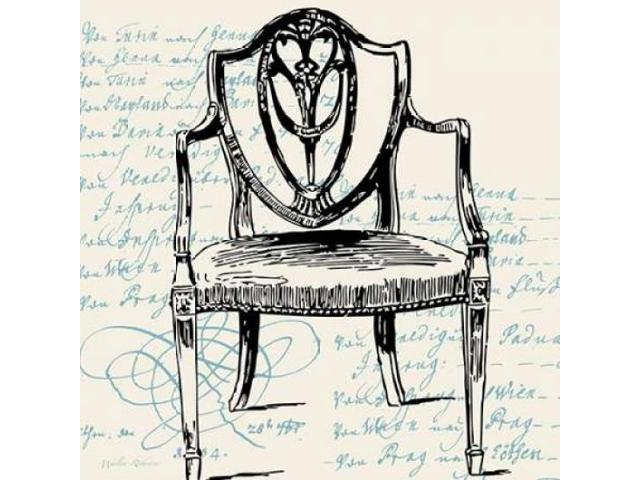 Script Arm Chair Poster Print by Walter Robertson (12 x 12)