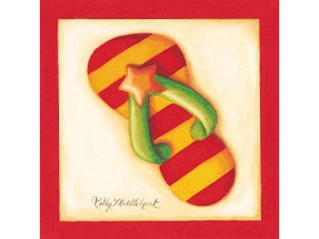Red Flip Flop II Poster Print by Kathy Middlebrook (12 x 12)