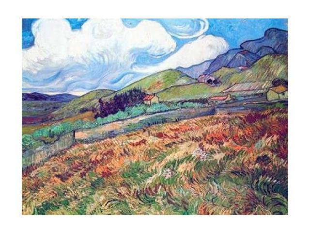 Oat Field With Mountains Poster Print by  Vincent Van Gogh  (9 x 12)