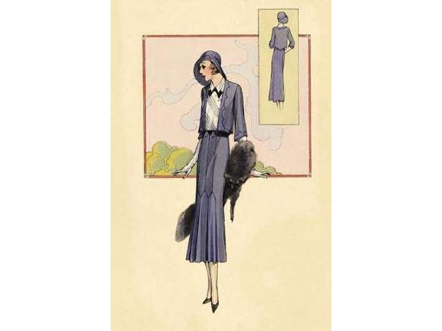 Stylish Blue Suit with Stole Poster Print by  Vintage Fashion (24 x 36)