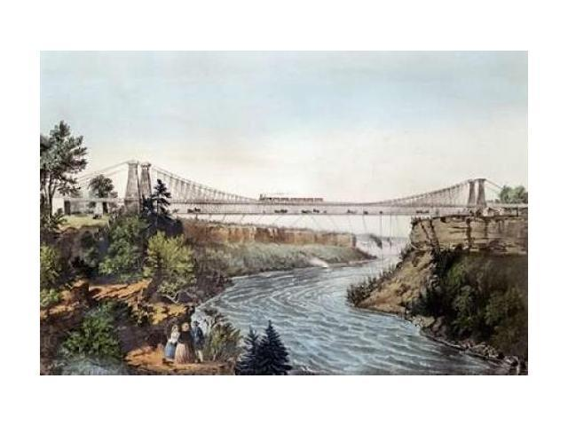 The Rail Road Suspension Bridge Poster Print by  Currier and Ives (24 x 36)