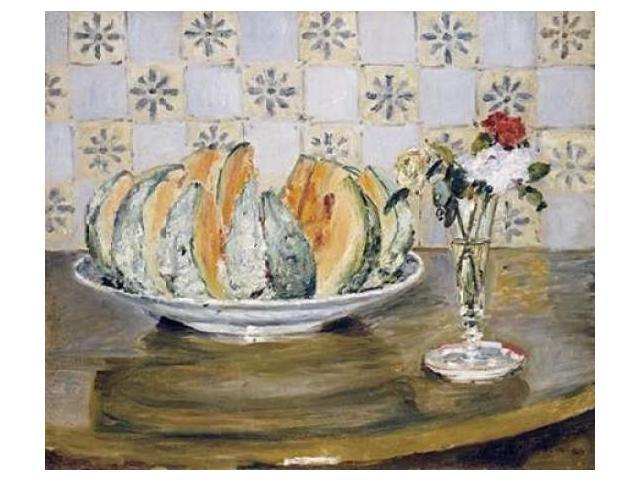 Still Life of a Melon and a Vase of Flowers Poster Print by  Pierre-Auguste Renoir  (10 x 12)