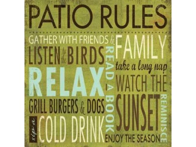 Patio Rules Poster Print by Stephanie Marrott (24 x 24)