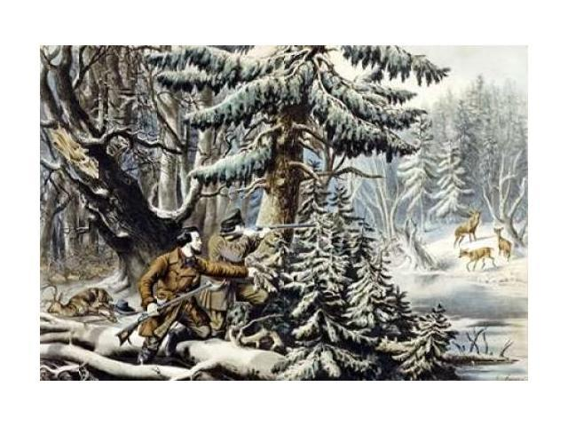 American Winter Sports - Deer Shooting on The Shattagee Poster Print by Nathaniel Currier (24 x 36)