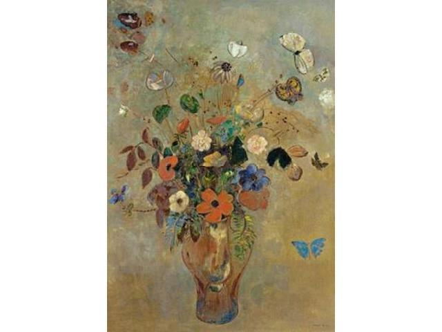 Bouquet of Flowers with Butterflies Poster Print by  Odilion Redon  (10 x 14)