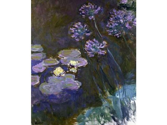 Water Lilies and Agapanthus Poster Print by Claude Monet (24 x 24)