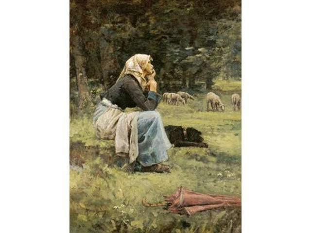 A Young Shepherdess Poster Print by  Pierre Billet  (9 x 12)