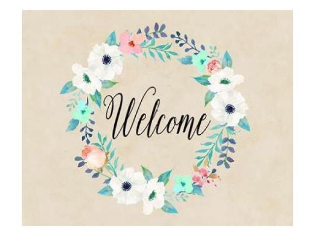 Welcome Teal and Pink Poster Print by Tara Moss (24 x 30)