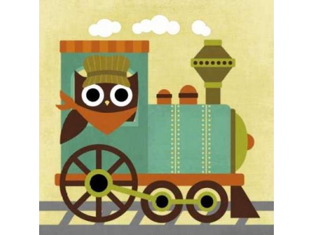 Owl Train Conductor Poster Print by Nancy Lee (24 x 24)