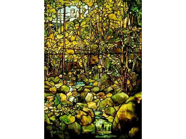 A Leaded Glass Window of a Woodland Scene Poster Print by Tiffany Studios  (10 x 14)
