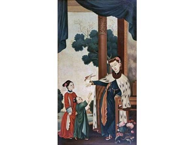 A Mandarins Wife With Their Two Daughters Poster Print by Chinese School  (12 x 18)