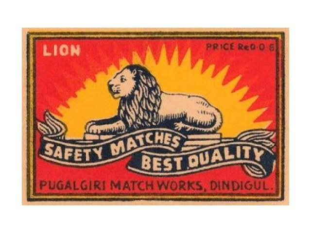 Lion Safety Matches Best Quality Poster Print by Phillumenart  (12 x 18)