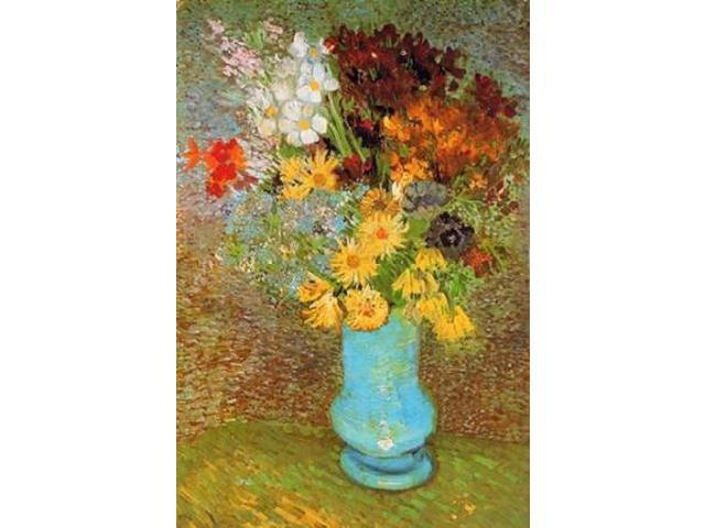 Vase Daisies And Anemones Poster Print by  Vincent Van Gogh  (12 x 18)