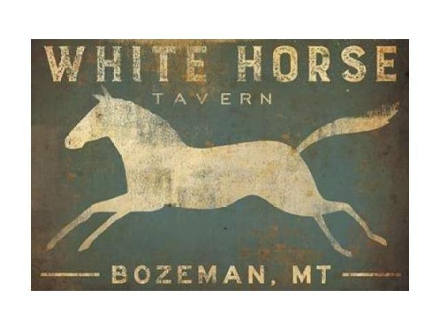 White Horse Running Poster Print by Ryan Fowler (24 x 36)
