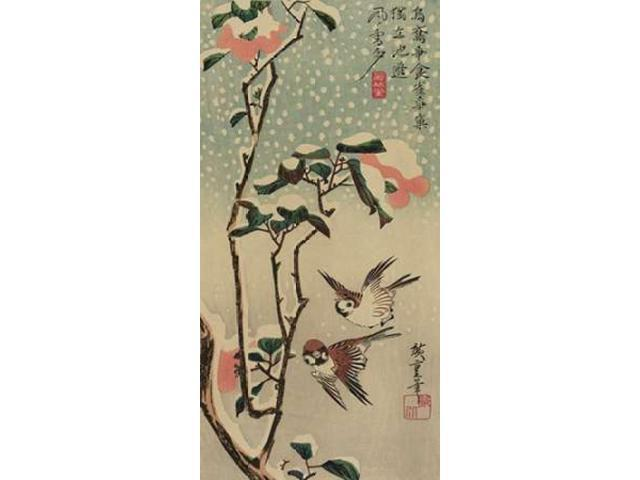 Sparrows and camellias in snow. 1840 Poster Print by Ando Hiroshige (24 x 48)
