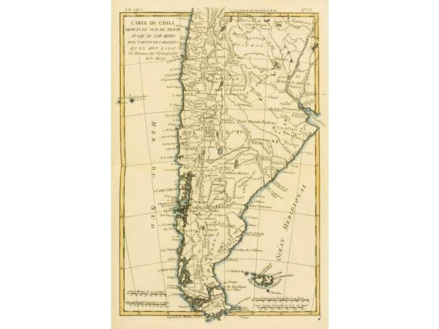 Map Of Chil And Southern Peru To Cape Horn Circa1760 From Atlas De Toutes Les Parties Connues Du Globe Terrestre   By Cartographer Rigobert Bonne Published Geneva Circa 1760 Poster Print (11 x 17)