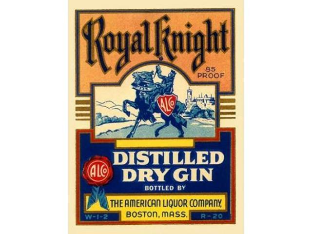 Royal Knight Distilled Dry Gin Poster Print by Vintage Booze Labels  (11 x 14)