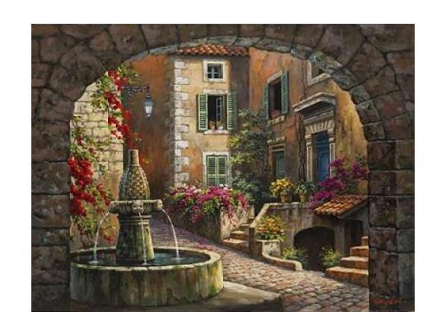 Fountain de Village Poster Print by Sung Kim (18 x 24)