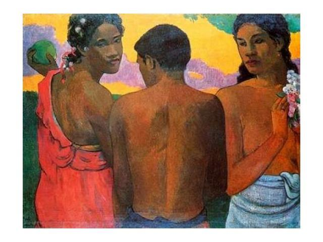 Three Tahitians Poster Print by Paul Gauguin (22 x 28)