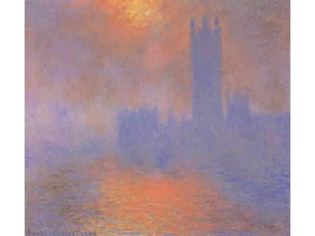 London Parliament With The Sun Breaking Through Fog Poster Print by  Claude Monet  (12 x 12)