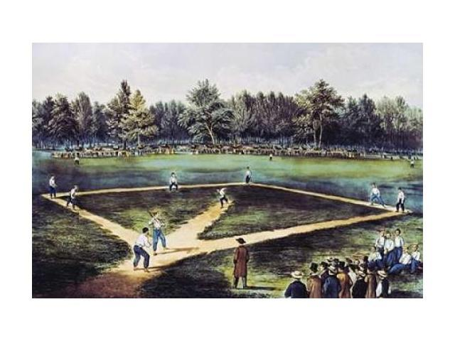 The American National Game of Baseball at The Elysian Fields Poster Print by Currier and Ives  (12 x 18)