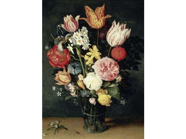 Tulips Roses and other Flowers in a Glass Poster Print by Balthasar Van der Ast (18 x 24)