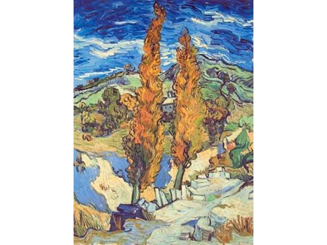 Two Poplars On Road Poster Print by  Vincent Van Gogh  (9 x 12)