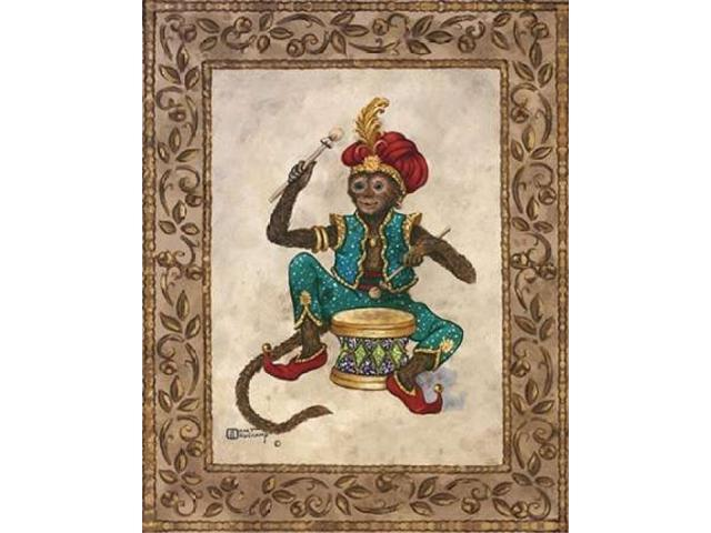 Monkey With Drum Poster Print by Janet Kruskamp (24 x 30)