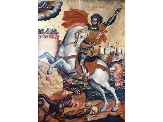 St. George Slaying The Dragon Poster Print by  Tzanes (20 x 28)