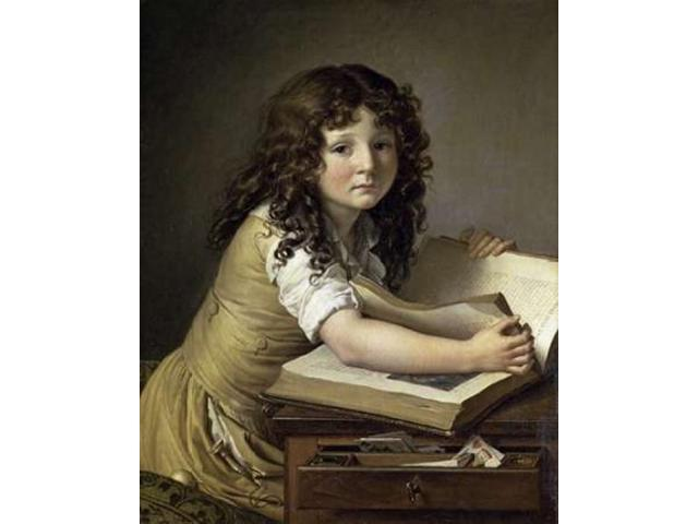 A Young Child Looking at Figures in a Book Poster Print by Anne Girodet De Roucy-Trioson (24 x 30)