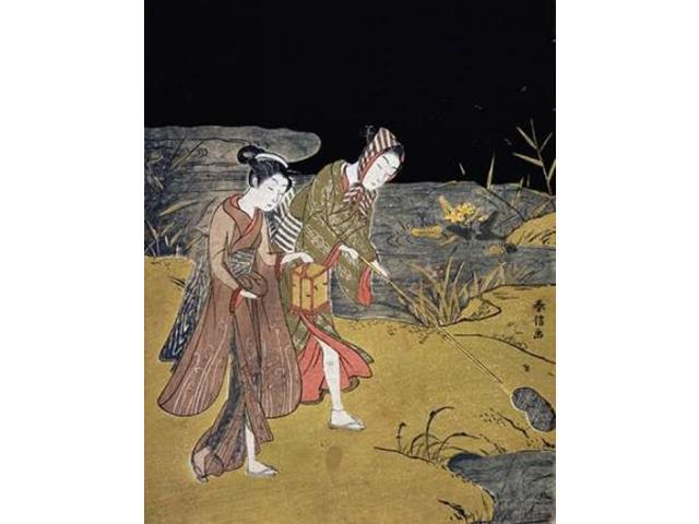 A Young Couple Catching Fireflies at Night On The Banks of a River Poster Print by  Suzuki Harunobu  (11 x 14)