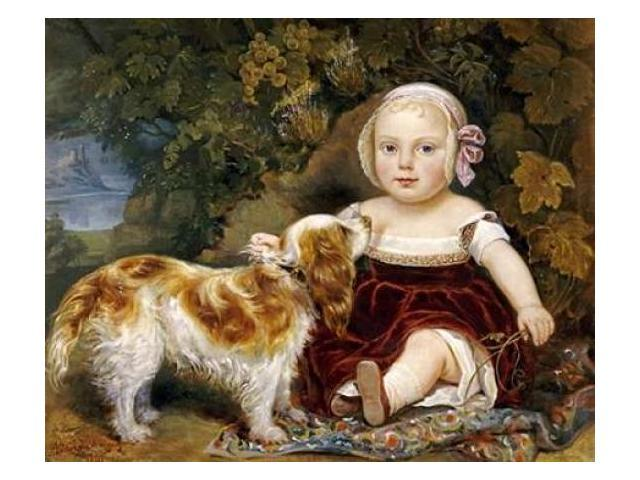 A Young Child With a Spaniel Poster Print by  Amila Guillot-Saguez  (8 x 10)