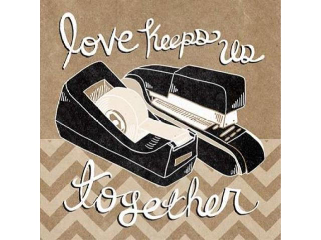 Love Keeps Us Together Taupe Poster Print by Mary Urban (12 x 12)