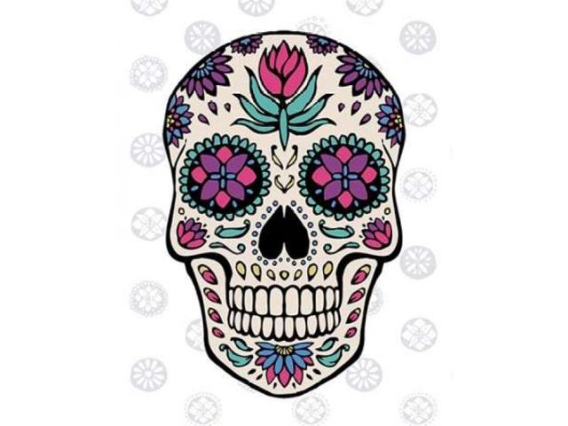 Sugar Skull IV on Gray Poster Print by Janelle Penner (11 x 14)