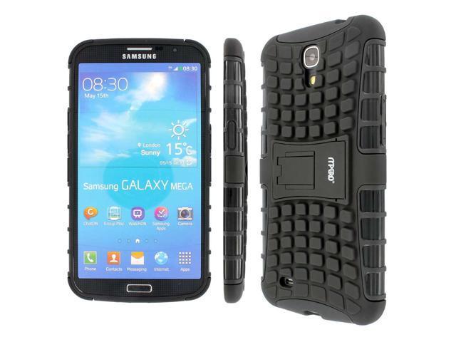 MPERO Collection Tough Rugged Kickstand Black Case for Samsung Galaxy Mega 6.3