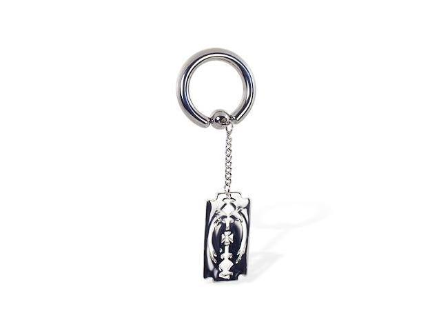 Captive bead ring with dangling razor blade, 8 ga