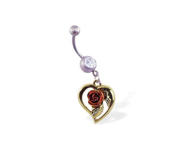 Navel ring with dangling yellow heart with pink rose
