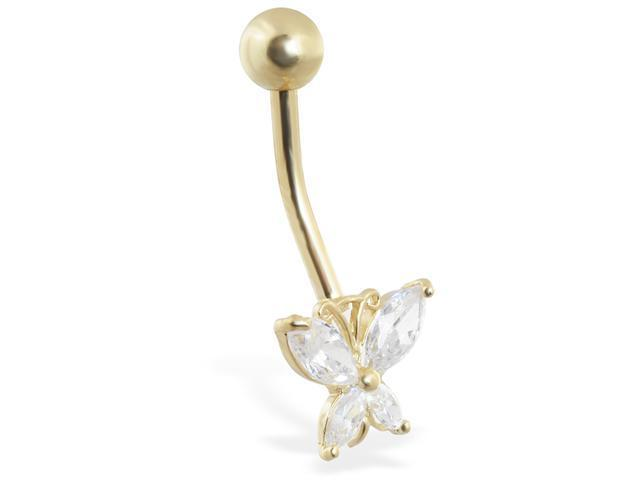 14K solid gold jeweled butterfly belly ring