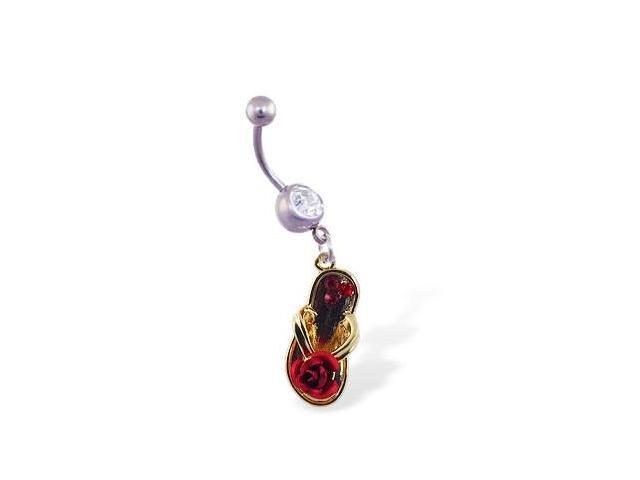 Navel ring with dangling flipflop with rose and gems