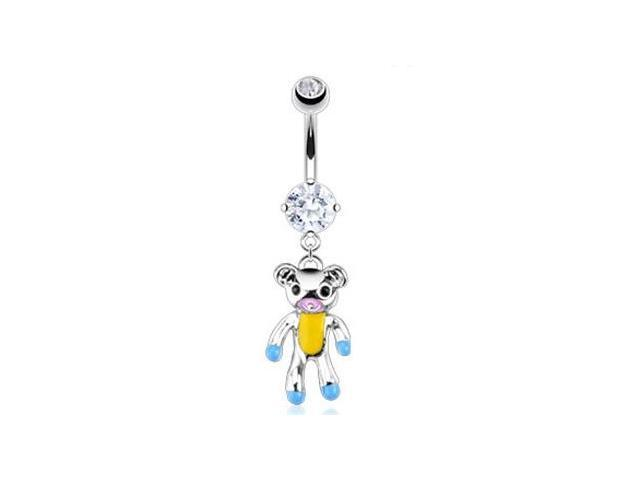 Navel ring with dangling teddy bear