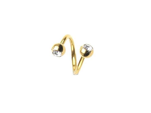 14K gold plated twister barbell with jeweled balls, 14 ga