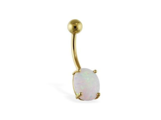14K solid gold belly ring with opal stone