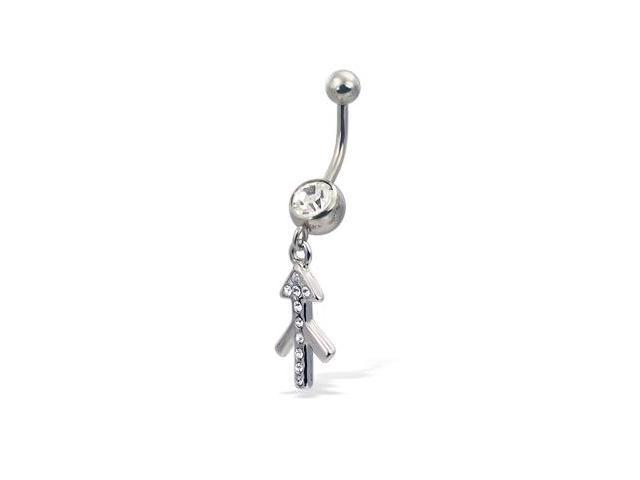 Jeweled zodiac belly button ring, Sagittarius
