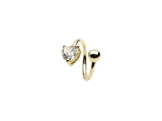 14K solid yellow gold twister barbell with jeweled CZ heart