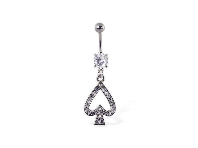 Navel ring with dangling jeweled spade