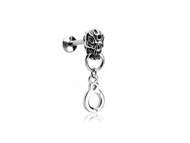 Labret stud with skull head and dangling handcuff, 14 ga