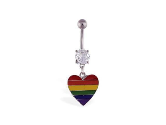 Navel ring with dangling rainbow heart