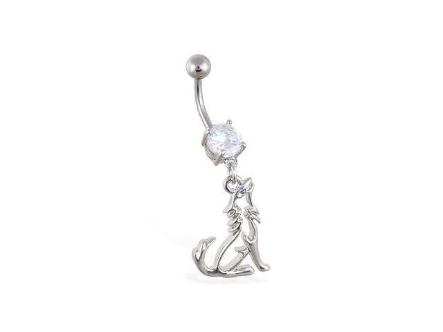 Belly ring with dangling wolf outline
