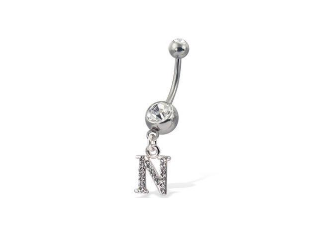 Initial belly button ring, letter N