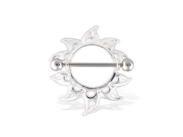 Sunflower nipple ring, 14 gauge